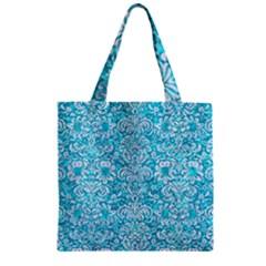 Damask2 White Marble & Turquoise Marble Zipper Grocery Tote Bag by trendistuff