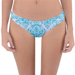 Damask1 White Marble & Turquoise Marble (r) Reversible Hipster Bikini Bottoms