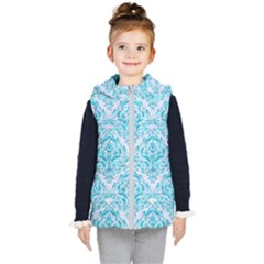 Damask1 White Marble & Turquoise Marble (r) Kid s Puffer Vest