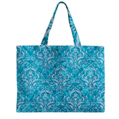 Damask1 White Marble & Turquoise Marble Zipper Mini Tote Bag by trendistuff