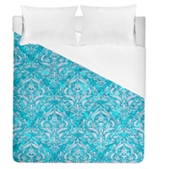 Damask1 White Marble & Turquoise Marble Duvet Cover (queen Size) by trendistuff