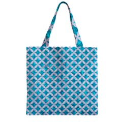 Circles3 White Marble & Turquoise Marble Zipper Grocery Tote Bag by trendistuff