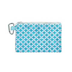 Circles3 White Marble & Turquoise Marble Canvas Cosmetic Bag (small) by trendistuff