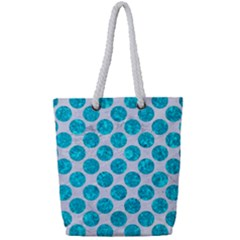 Circles2 White Marble & Turquoise Marble (r) Full Print Rope Handle Tote (small) by trendistuff