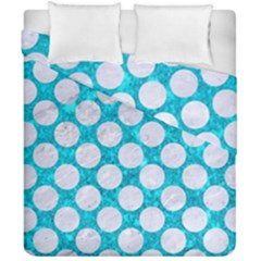 Circles2 White Marble & Turquoise Marble Duvet Cover Double Side (california King Size) by trendistuff