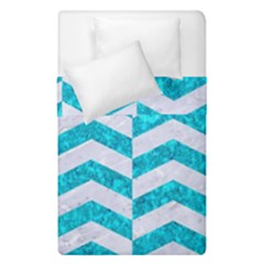 Chevron2 White Marble & Turquoise Marble Duvet Cover Double Side (single Size) by trendistuff