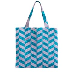Chevron1 White Marble & Turquoise Marble Zipper Grocery Tote Bag by trendistuff