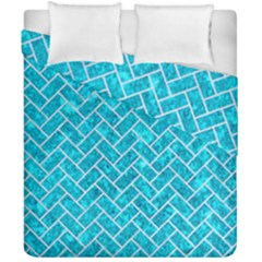 Brick2 White Marble & Turquoise Marble Duvet Cover Double Side (california King Size) by trendistuff