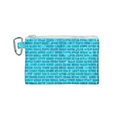 Brick1 White Marble & Turquoise Marble Canvas Cosmetic Bag (small) by trendistuff