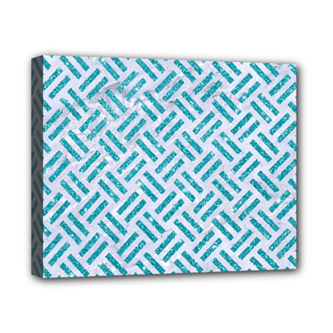 Woven2 White Marble & Turquoise Glitter (r) Canvas 10  X 8  by trendistuff