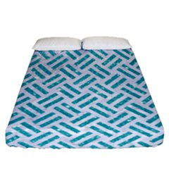 Woven2 White Marble & Turquoise Glitter (r) Fitted Sheet (queen Size) by trendistuff