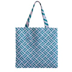 Woven2 White Marble & Turquoise Glitter (r) Zipper Grocery Tote Bag by trendistuff
