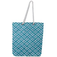 Woven2 White Marble & Turquoise Glitter Full Print Rope Handle Tote (large) by trendistuff