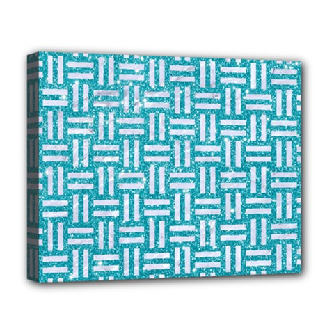 Woven1 White Marble & Turquoise Glitter Deluxe Canvas 20  X 16   by trendistuff