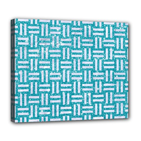 Woven1 White Marble & Turquoise Glitter Deluxe Canvas 24  X 20   by trendistuff