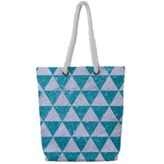 Triangle3 White Marble & Turquoise Glitter Full Print Rope Handle Tote (small) by trendistuff