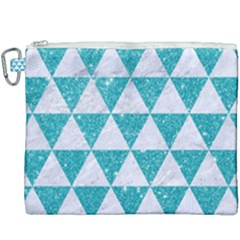 Triangle3 White Marble & Turquoise Glitter Canvas Cosmetic Bag (xxxl) by trendistuff