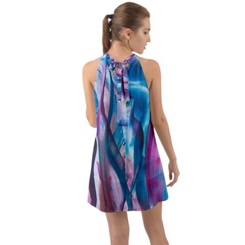 Halter Tie Back Chiffon Dress