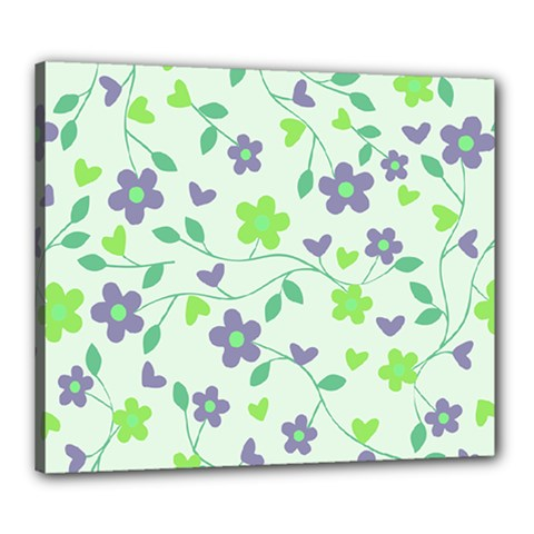 Green Vintage Flowers Canvas 24  X 20  by vintage2030