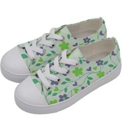 Green Vintage Flowers Kids  Low Top Canvas Sneakers by vintage2030