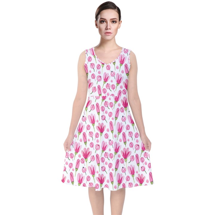 Watercolor Spring Flowers pattern V-Neck Midi Sleeveless Dress