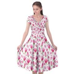 Watercolor Spring Flowers Pattern Cap Sleeve Wrap Front Dress