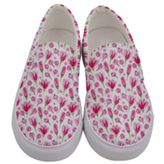 Watercolor Spring Flowers Pattern Men s Canvas Slip Ons