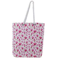 Watercolor Spring Flowers Pattern Full Print Rope Handle Tote (large)
