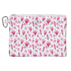 Watercolor Spring Flowers Pattern Canvas Cosmetic Bag (xl)