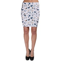 Spring Flowers And Birds Pattern Bodycon Skirt