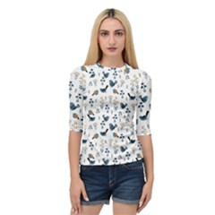 Spring Flowers And Birds Pattern Quarter Sleeve Raglan Tee