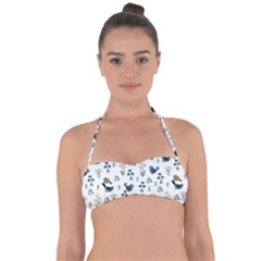 Spring Flowers And Birds Pattern Halter Bandeau Bikini Top