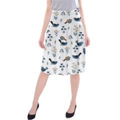 Spring Flowers And Birds Pattern Midi Beach Skirt