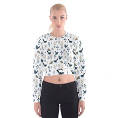 Spring Flowers And Birds Pattern Cropped Sweatshirt