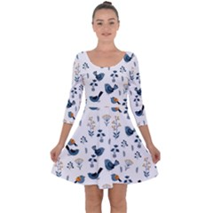Spring Flowers And Birds Pattern Quarter Sleeve Skater Dress