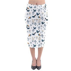 Spring Flowers And Birds Pattern Midi Pencil Skirt by TastefulDesigns