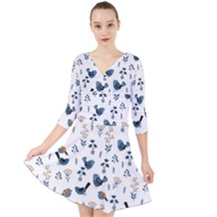 Spring Flowers And Birds Pattern Quarter Sleeve Front Wrap Dress