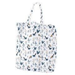 Spring Flowers And Birds Pattern Giant Grocery Zipper Tote