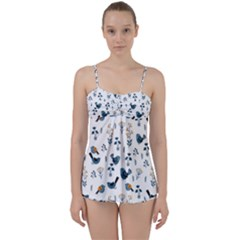 Spring Flowers And Birds Pattern Babydoll Tankini Set