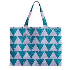 Triangle2 White Marble & Turquoise Glitter Zipper Mini Tote Bag by trendistuff