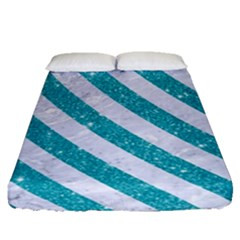Stripes3 White Marble & Turquoise Glitter Fitted Sheet (queen Size) by trendistuff