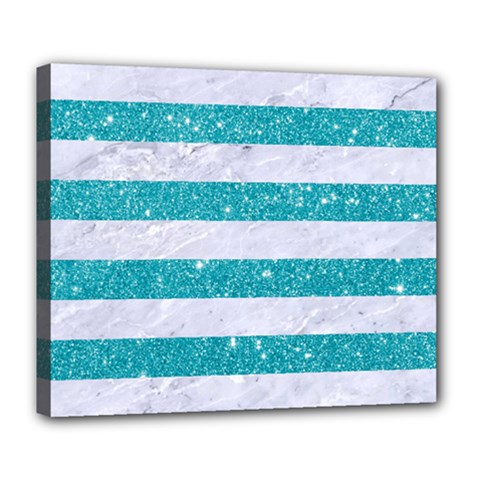 Stripes2white Marble & Turquoise Glitter Deluxe Canvas 24  X 20   by trendistuff