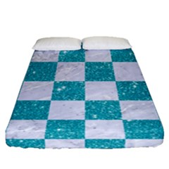 Square1 White Marble & Turquoise Glitter Fitted Sheet (queen Size) by trendistuff