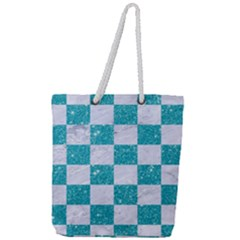Square1 White Marble & Turquoise Glitter Full Print Rope Handle Tote (large) by trendistuff
