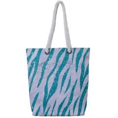 Skin3 White Marble & Turquoise Glitter (r) Full Print Rope Handle Tote (small) by trendistuff