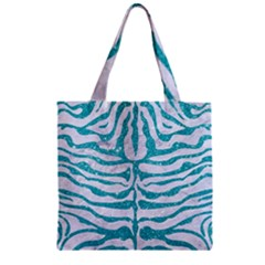 Skin2 White Marble & Turquoise Glitter (r) Zipper Grocery Tote Bag