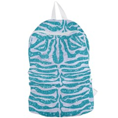 Skin2 White Marble & Turquoise Glitter Foldable Lightweight Backpack by trendistuff