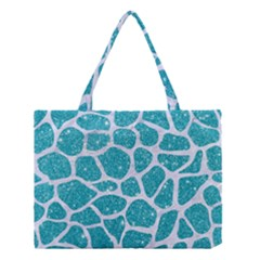 Skin1 White Marble & Turquoise Glitter (r) Medium Tote Bag by trendistuff