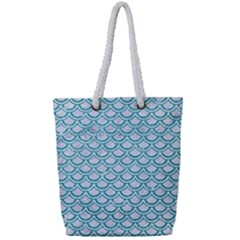 Scales2 White Marble & Turquoise Glitter (r) Full Print Rope Handle Tote (small) by trendistuff