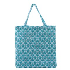 Scales2 White Marble & Turquoise Glitter Grocery Tote Bag by trendistuff